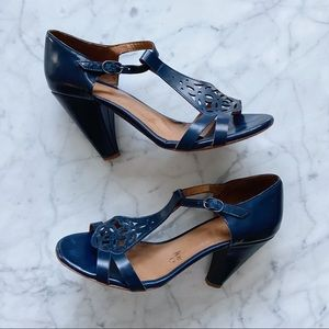Anthropologie Coclico Blue Leather Sandal Heels